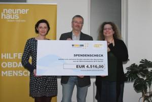 v.l.n.r. Barbara Kumer (neunerhaus), KR Andreas Egger (oeticket.com), Mag.a Veronika Vlcek (neunerhaus)