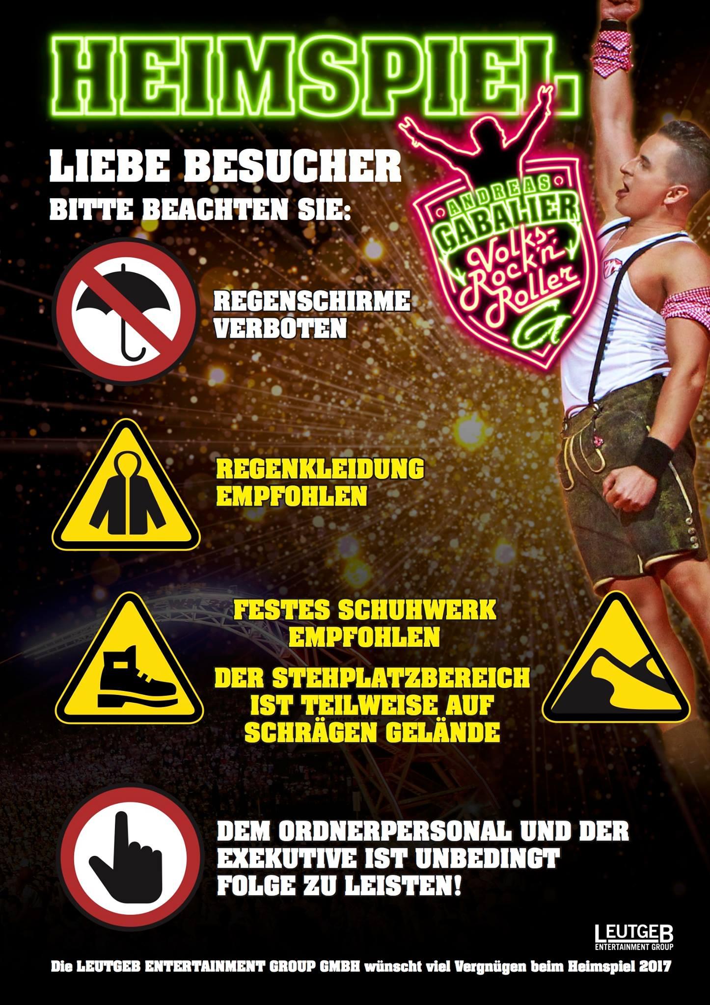 Verbotene Gegenstände Andreas Gabalier Heimspiel 2017 in Schladming