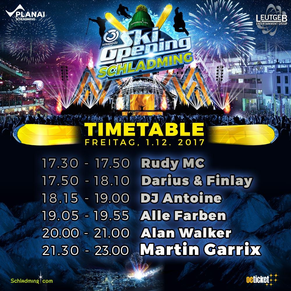 finaler Timetable Ö3 Ski Opening Schlladming Planai 2017 Alle Infos