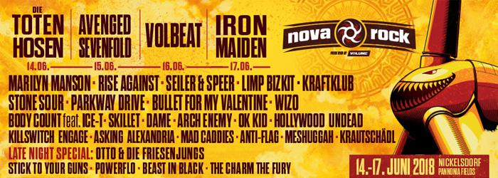 Nova Rock 2018 Festival Nickelsdorf Line Up Phase 1 abgeschlossen