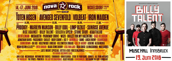 Billy Talent Österreich Termine 2018 Nova Rock Innsbruck